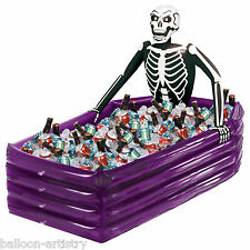 Haunted Halloween Inflatable Skeleton Coffin Grave Drinks Cooler Decoration