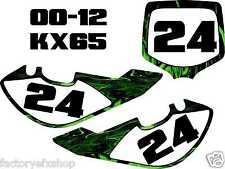 Kawaskai Kx65 Number Plates Kit 05-12 Green Flames Plate Graphics Decal MX kx 65