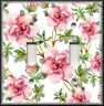 Metal Light Switch Plate Cover - Pink Green Flowers - Floral Art Home Decor