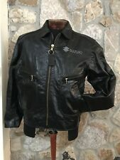 Rare Vanson Heavyweight BLACK Leather Motorcycle Jacket SUZUKI Boston MA size 44