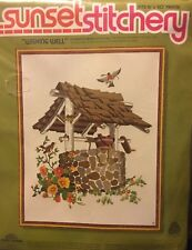 Sunset Designs Stitchery Kit Wishing Well and Robins #2467 20 X 24 Inches NOS