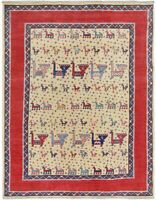 Tribal Animal Design Super Kazak Oriental Area Rug Wool Hand-Knotted 5x7 Carpet