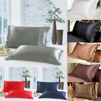 Solid Queen/Standard Smooth Silky Satin Pillow Case Bedding Pillowcase 1 Piece