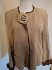 WEILL OF Paris beige SUEDE JACKET WITH CAMELLIA FLOWER SIZE M-L 4622a45eb3bc