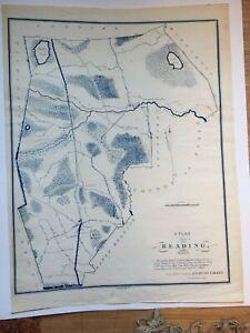 """Interesting 1831 Plan of Reading, Massachusetts Measures 20"""" x 26"""""""