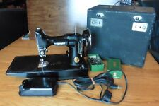 Vtg Singer Sewing Machine Mfg Co Featherweight 221 Pedal Cat 3-110 Simanco &Case