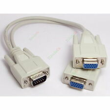 VGA SPLITTER CABLE Y DH15 SVGA MONITOR LCD DUAL DISPLAY