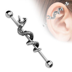 316L Surgical Steel Industrial Scaffold Barbell with Snake