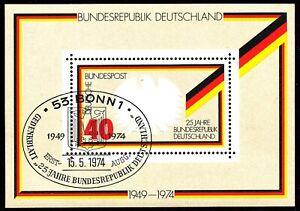 BUNDESREPUBLIK 1974 Block 25 Jahre Bundesrepublik Deutschland ESST BONN ABART
