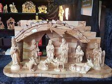 Das uinique nature von Olivenholz Nativity Luxus set (komplett Haus+figuren)