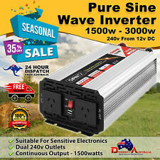 Giantz Power Inverter Pure Sine Wave 12V to 240V  Car Caravan Boat 1500W/3000W
