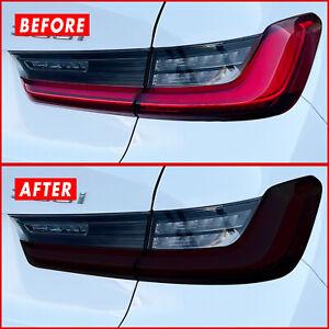 FOR 19-21 BMW 3 Series G20 Tail Light Cutout & Rear Reflector SMOKE Vinyl Tint