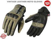 New Vintage Classic Leather Motorbike Motocross Ladies Mens Motorcycle Gloves UK