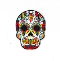 WHITE SUGAR SKULL Iron on / Sew on Patch Embroidered Badge Motorcycle PT313