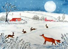 ORIGINAL Watercolour Painting:ANIMALS/LANDSCAPE: FOX & HARES IN SNOWY MOONLIGHT