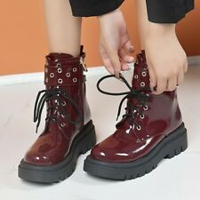 Womens Gothic Round Toe Buckle Strap Ankle Motorcycle Boots Platform Heels Shoes