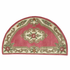 MADISON THICK WOOL PINK FRENCH AUBUSSON CARVED HALF ROUND RUG MAT 67x120cm **NEW