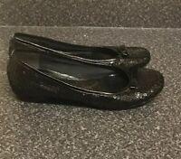 Clarks UK 6 Ladies Black Sequin Ballerina Shoes Sparkly Heeled Soft Pumps Bow