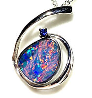 21x14mm Solid 14k White Gold Boulder Doublet Opal Pendant with Sapphire