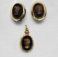 Vintage Brown Amber Glass Cameo Necklace Pendant & Clip Earrings Set - Gold-Tone