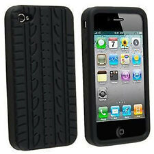 Black Tyre Tread Silicone Rubber Case Cover For iPhone 4 4S 4G