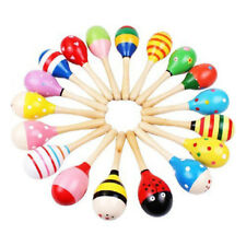 Wooden Handle Rattle Shaker Sand Hammer Kids Baby Music Educational Toy UK