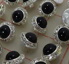 "36 vintage Czech metal rhinestone buttons silver black glass stone 5/8"" 16mm 140"