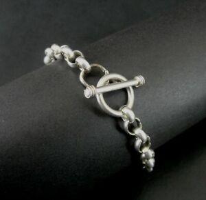 Bracelet Silver Sterling 925 Round Links with Toggle Clasp BRACELET