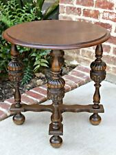Antique French Oak ROUND Cup and Cover End Table Occasional Lamp Table #2