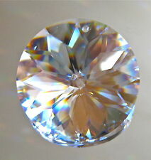 Leaded Crystal Prism Ornament, Round with Flower Cuts in the center, 40mm