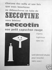 PUBLICITÉ SECCOTINE COLLE ET SECCOTIN SON PETIT CAPUCHON ROUGE INGÉNIEUX