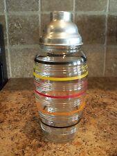 Vintage Anchor Hocking Colorful Stripes Large Barrel Cocktail Shaker