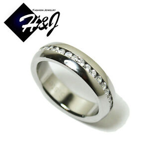 Men's Women's Stainless Steel 6mm Silver Eternity CZ Wedding Band Ring Size 6-13