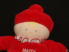 CARTER MERRY CHRISTMAS RED PAJAMA BLOND HAIR BABY DOLL BELL RATTLE PLUSH TOY