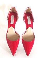 New Designer Michael Kors Tomato Red Patent Leather Pointy Toe Heel Pumps 8.M