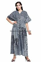 Casual Maxi Dress Plus Size Cotton Floral Long Kaftan Boho Indian Bikini Wear
