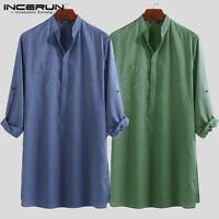 Summer Mens Cotton Linen Ethnic Saudi Style Causal Kaftan Tops Shirt Pullover UK