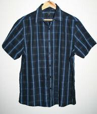 Thoma Nash Fashion Men's Black Blue Check Short Sleeve Shirt 100% Polyester M