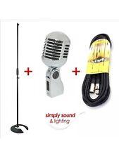 """Retro Años 50 Vintage Micrófono Cromo Con Cable vocal """"Elvis Style"""" Inc Cable Y Soporte"""