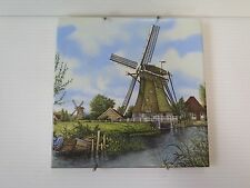 """DUTCH WINDMILLS"" HAND PAINTED ON CERAMIC TILE"