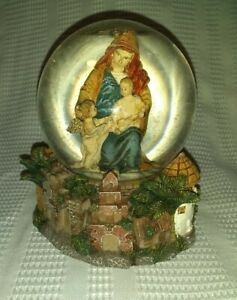 Christmas Christian Snow Globe Mary Baby Jesus and Angel