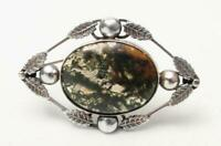 VINTAGE STERLING SILVER MOSS AGATE BROOCH / PENDANT ARTS & CRAFT ORNATE SETTING