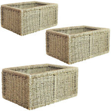 Seagrass Storage Basket Box Hamper Rectangle Plant Wine bottle Woven Picnic Gift