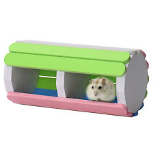 Coloful Double Room Wooden Tube House Mice Hamster Pet Rat Gerbil Guinea Pig