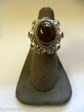 Vintage Amber and Amethyst Ring by BJ Size 7