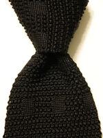 CALVIN KLEIN Men's 100% Silk Necktie ITALY Luxury SOLID Geometric Black EUC Rare