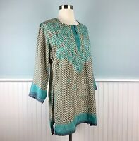 Size Small S Gretchen Scott Blue Embroidered Tunic Top Shirt Blouse Boho Chic
