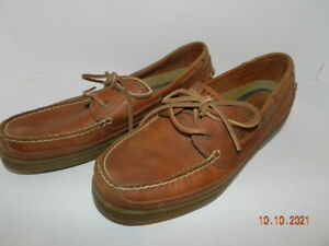 Mens Sperry Top Spider Shoes brown leather size 12