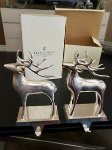 Set of 2 - Pottery Barn Silver Plated Reindeer Stocking Holder Heavy! EUC w/Box