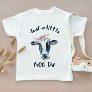 Just A Little Moody Toddler T Shirt Kids Children Tee Farm Funny Cow Top Cute